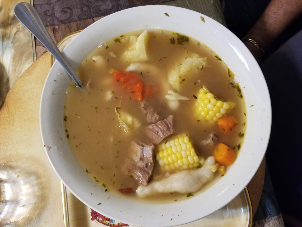 Jamaican beef soup in a bowl