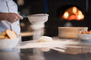 Sprinkle flour over dumpling